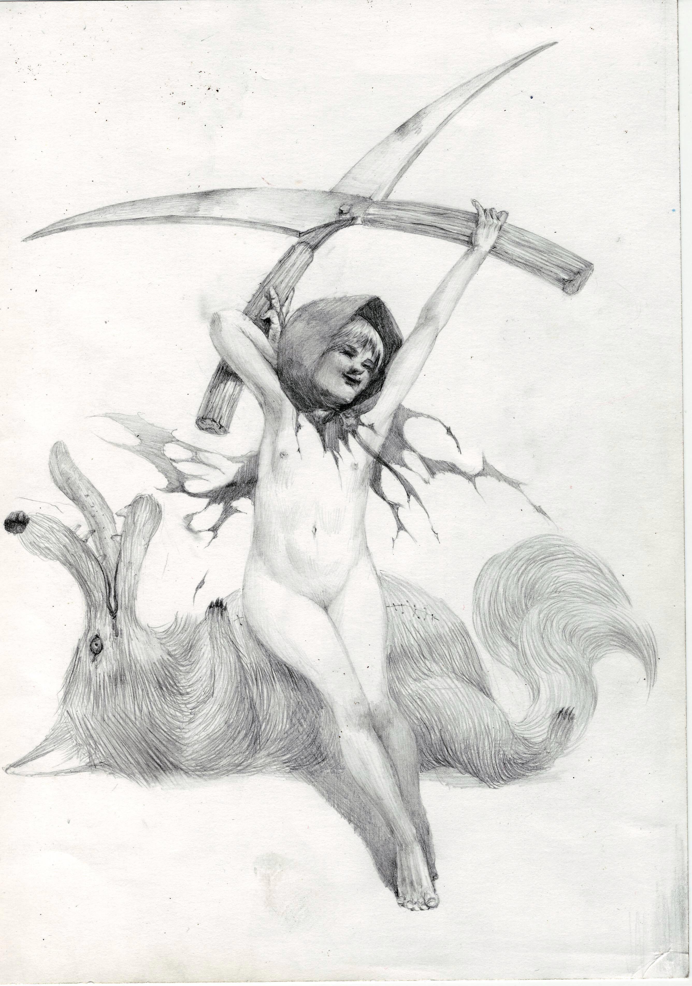 赤ずきんの鉛筆画