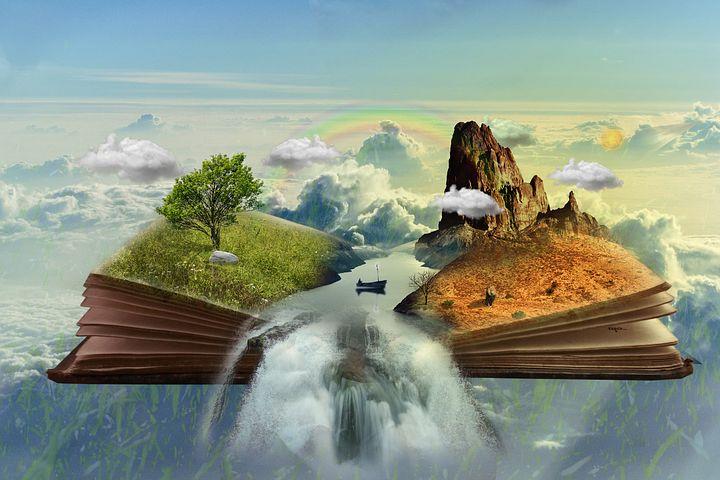 本から絵が浮かび上がって2つの世界が広がっている